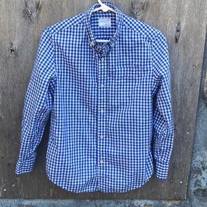 J. CREW-crew cuts blue & white plaid shirt size 12